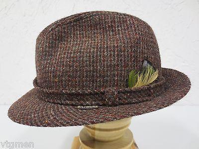 Vintage Brown Wool Tweed Fedora a1f57398afeb