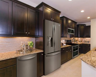 Awesome Stainless Steel Appliances with Dark Cabinets