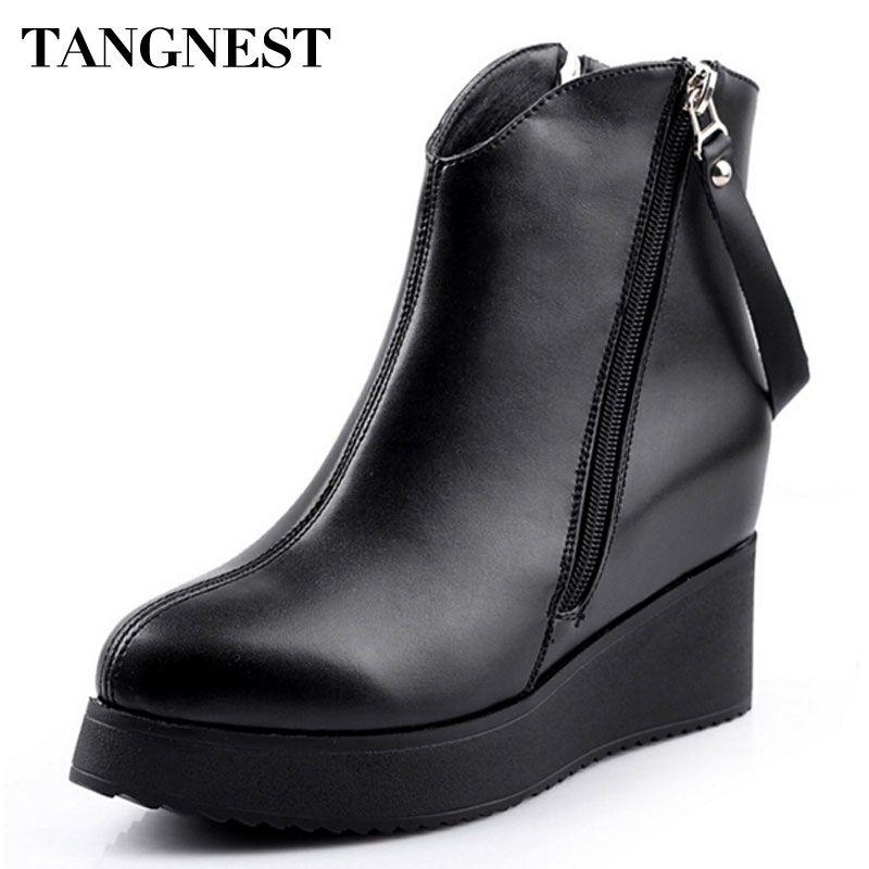 Tangnest 2017 primavera nuevas mujeres botines de cuero de la pu aumento de la altura fashion boots punta estrecha zapatos de las cuñas de las mujeres xwx2668