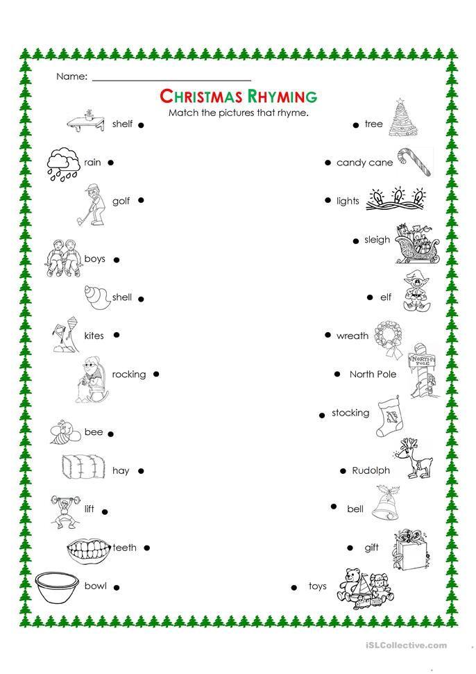 christmas rhyming christmas cards drawing christmas words printable worksheets first grade math