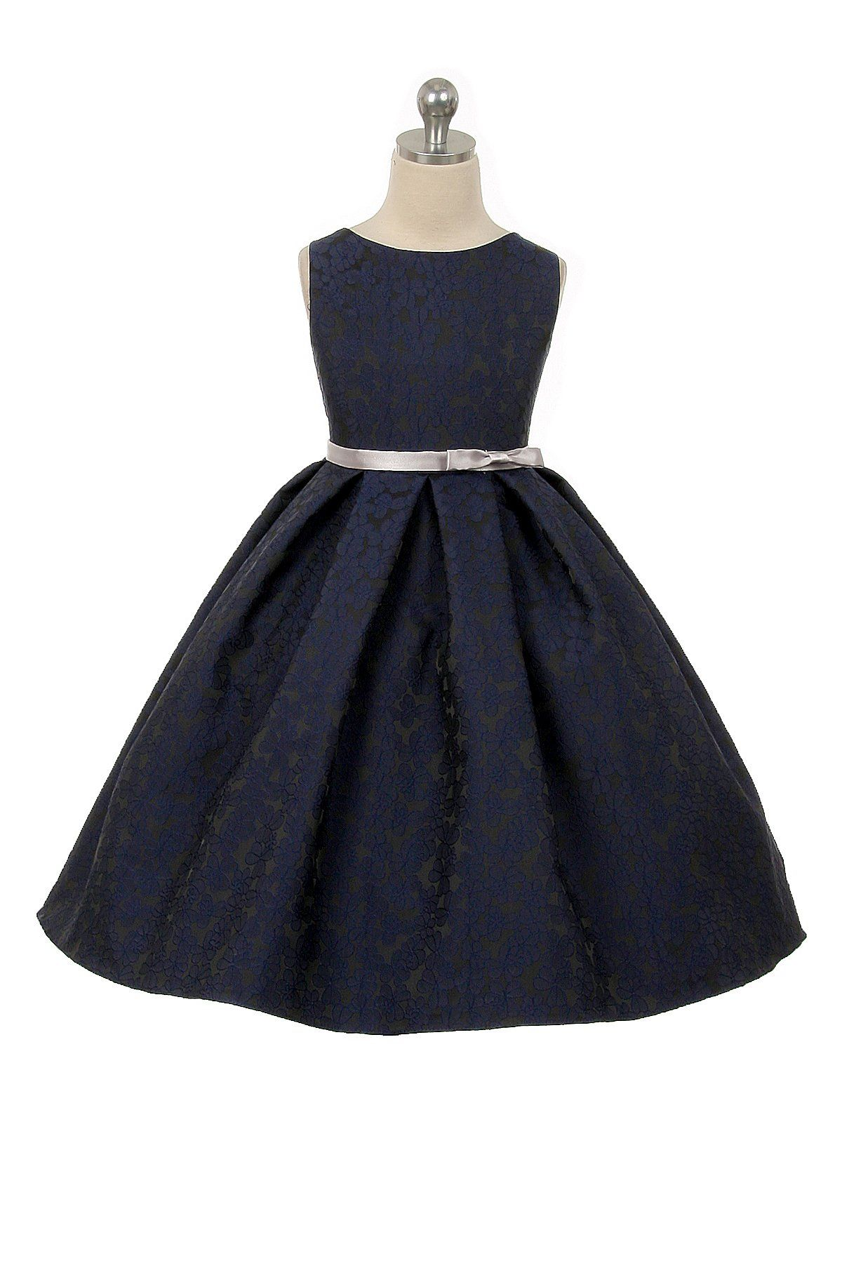 e754a08055e Navy Floral Jacquard Flower Girl Dress with Pleated Skirt