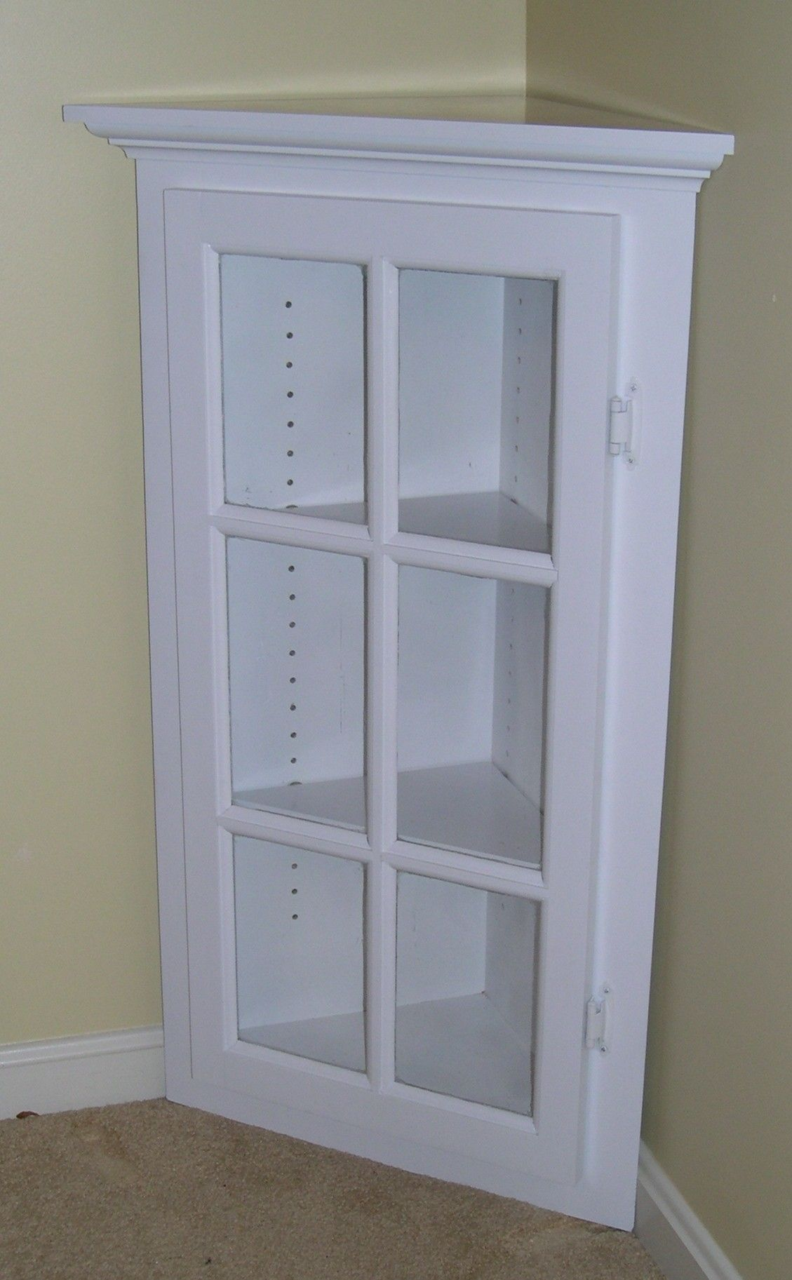 White Corner Cabinet With Glass Doors Bathroom Corner Storage