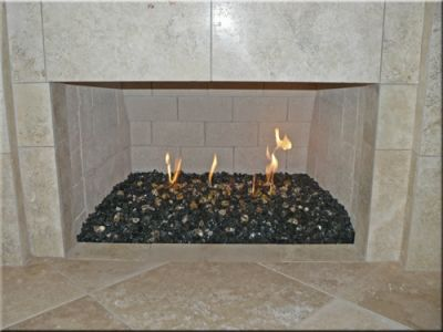 Lava Rock Indoor Fireplace Fireplace Before It Was Painted But