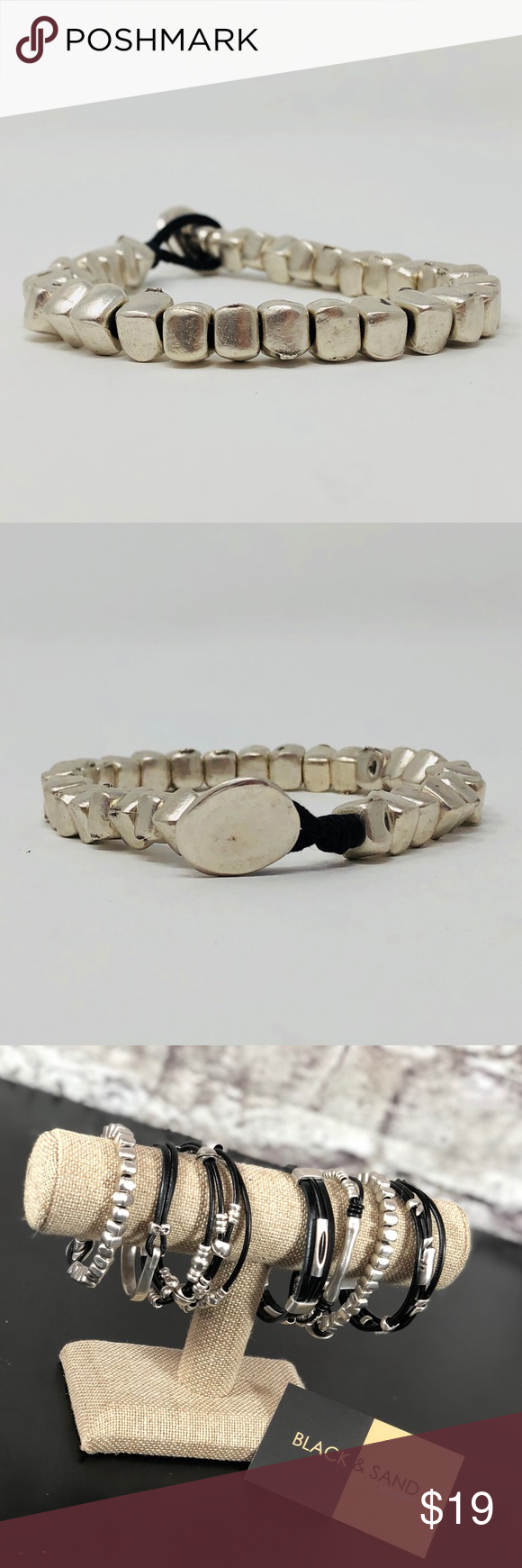 New silver tone leather bracelet turkish design boutique in