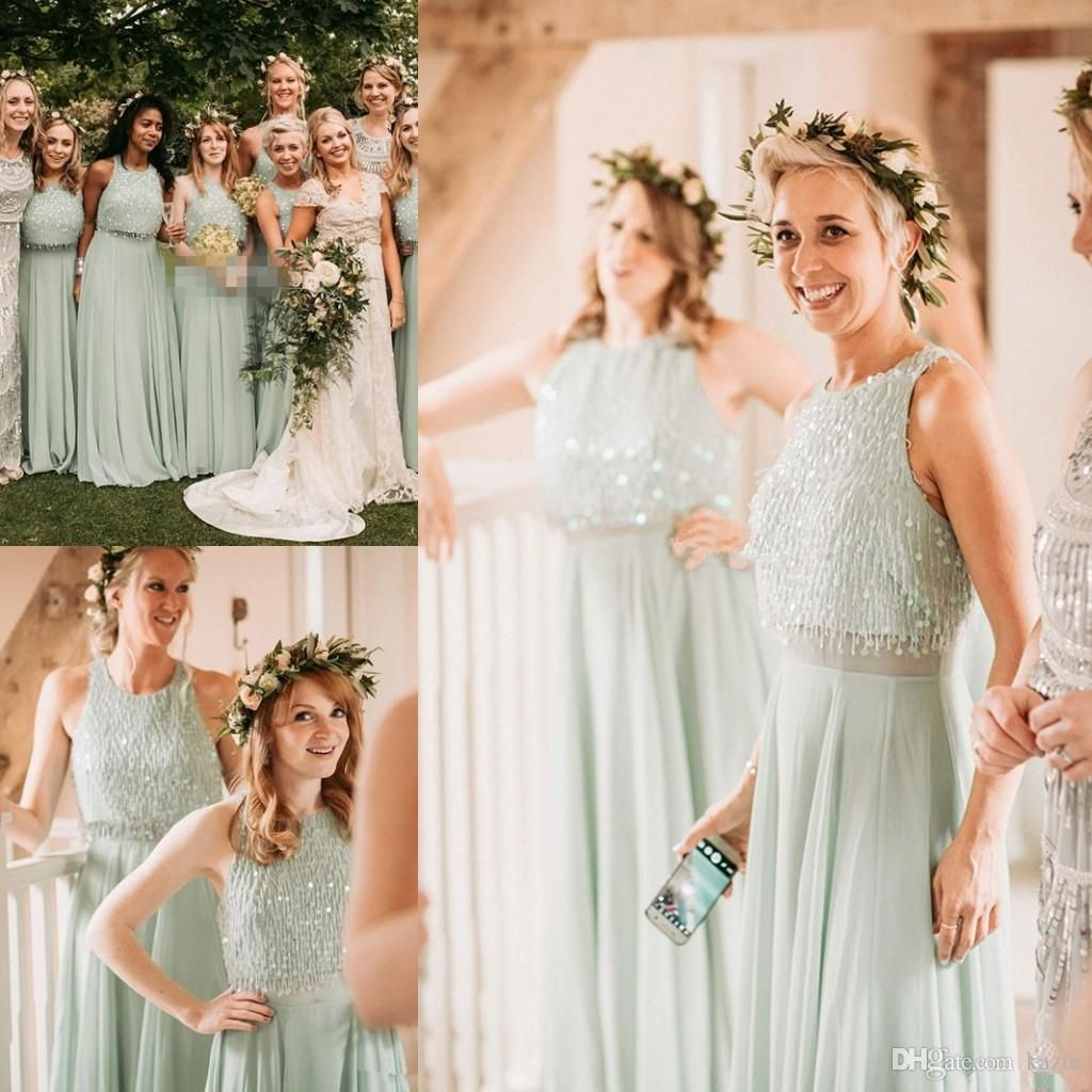 Mint green long country two pieces bridesmaid dresses modest