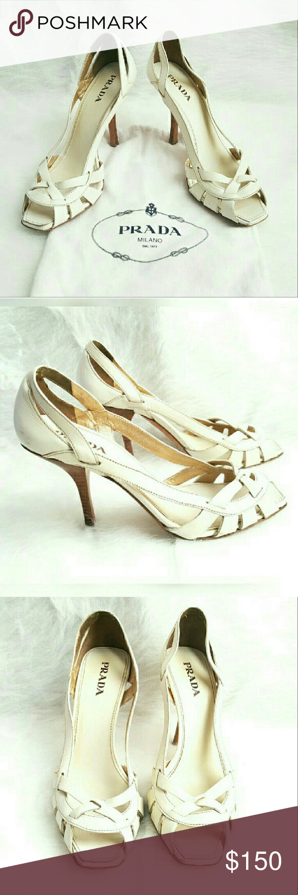 Prada White Leather Heels Prada White Leather Heels with Cut Out Details and Wooden Heel. There are some minor scuffs on the back and normal wear on the bottom of the shoe (see pic) Prada Shoes Heels