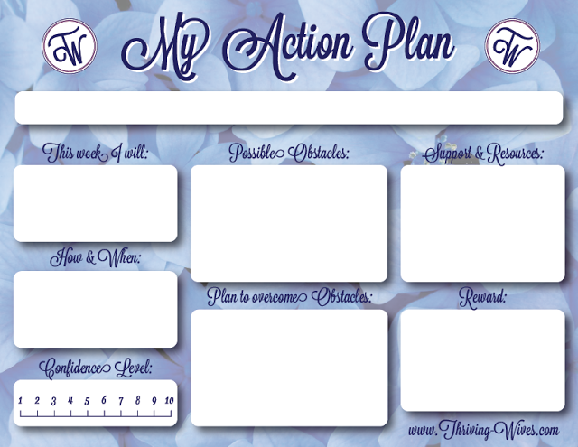 Thriving Wives Action Plans Free Printable Template  Cleaning