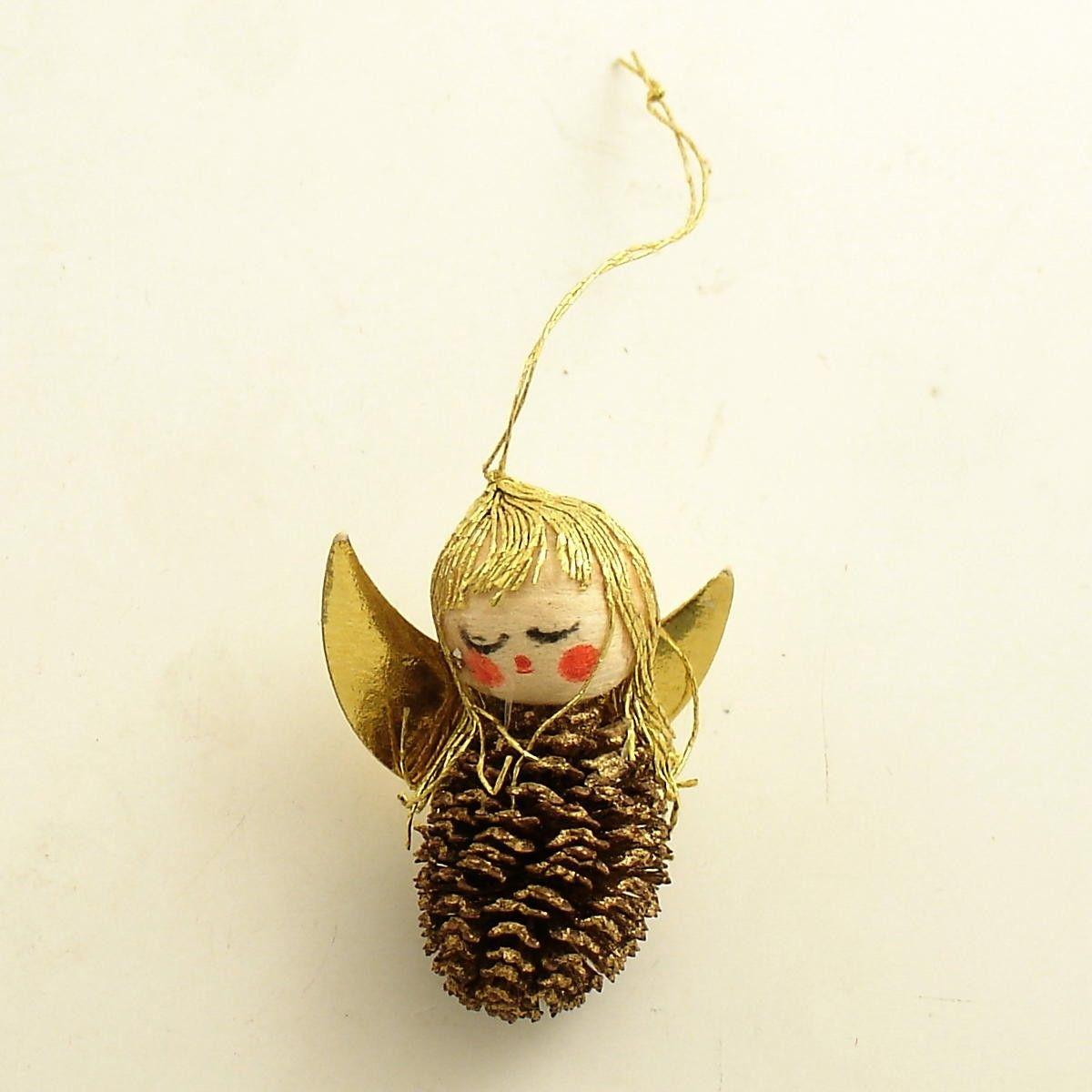 Vintage Christmas Pinecone Angel Ornament Etsy Pine Cone Crafts Vintage Christmas Pine Cone Decorations