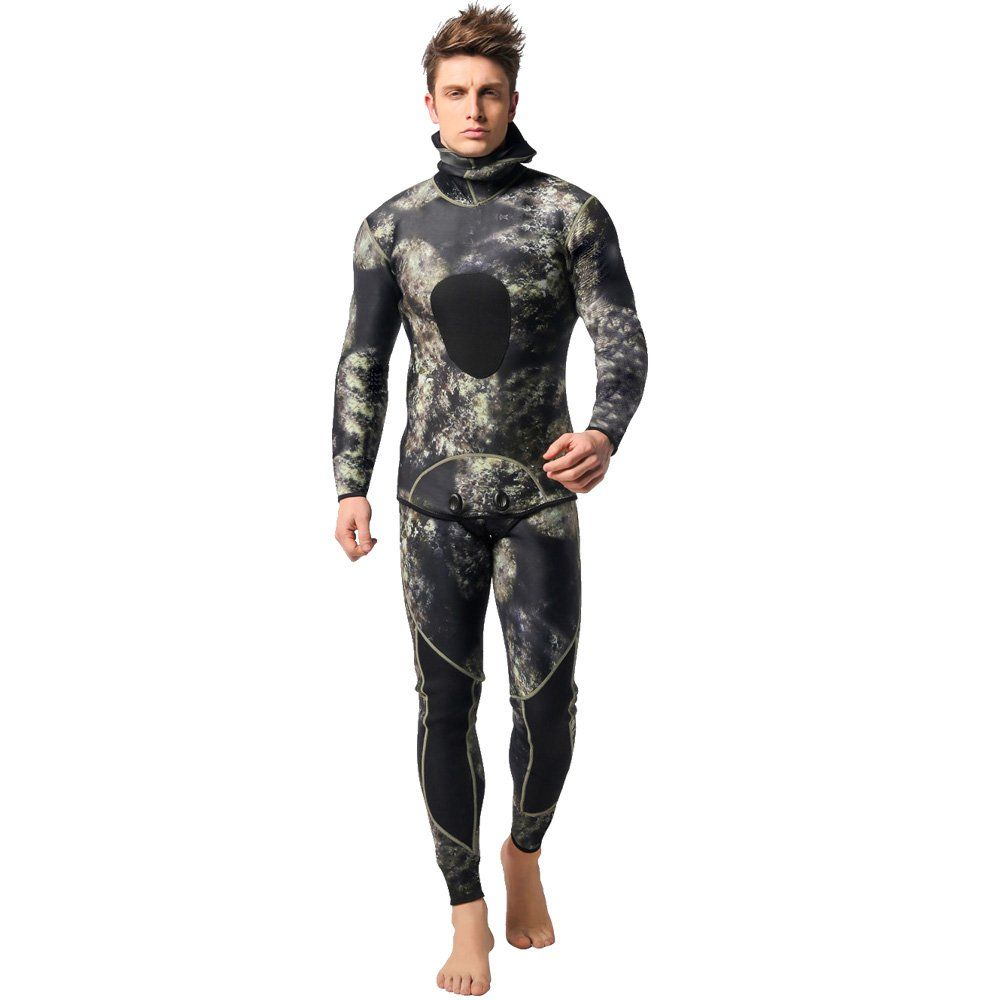 Nataly Osmann Camo Spearfishing Wetsuits Men 3mm //1.5mm Neoprene 2-Pieces Hooded Long Sleeve Scuba Diving Suit Full Body Keep Warm Snorkeling Suits