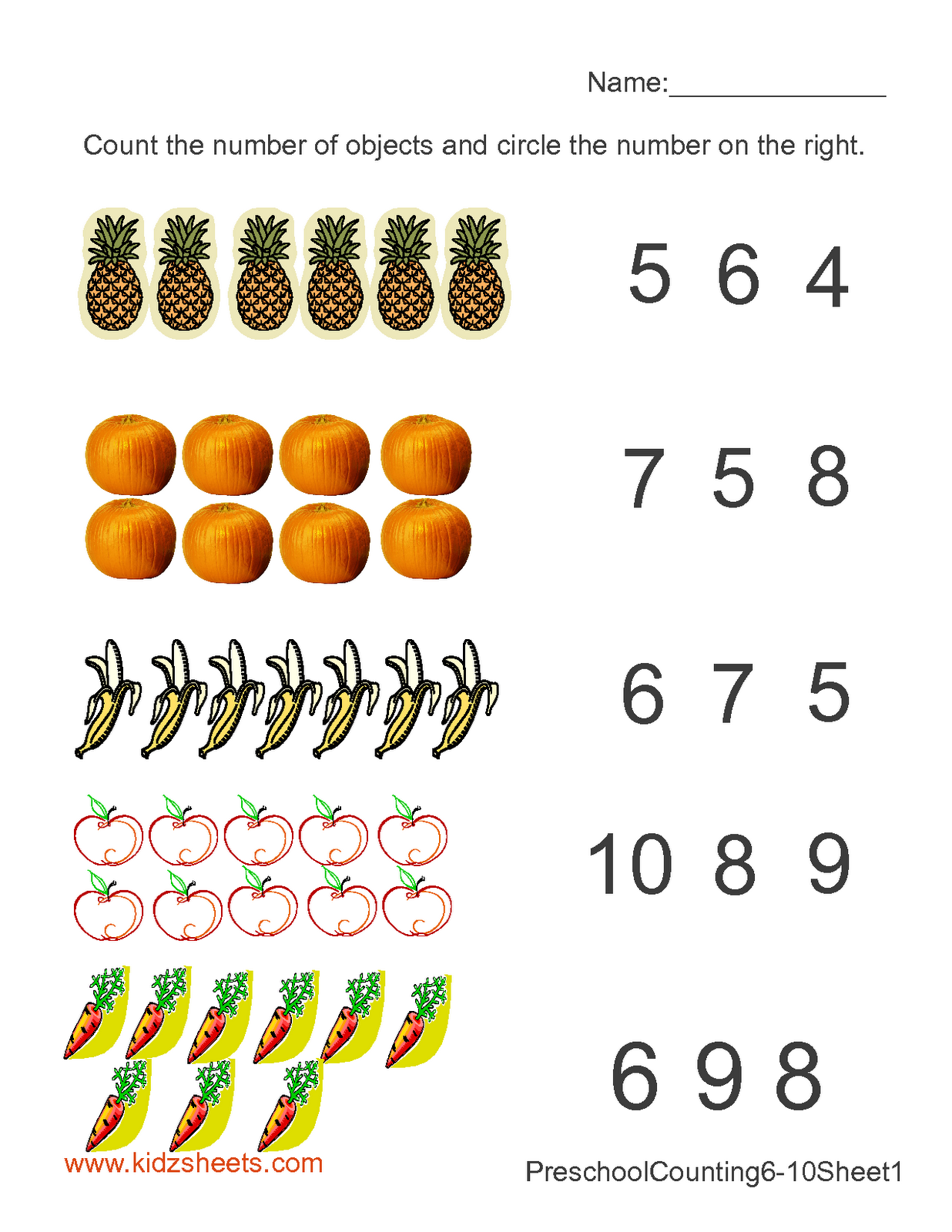 Preschool Counting Numbers Worksheet1 With Images