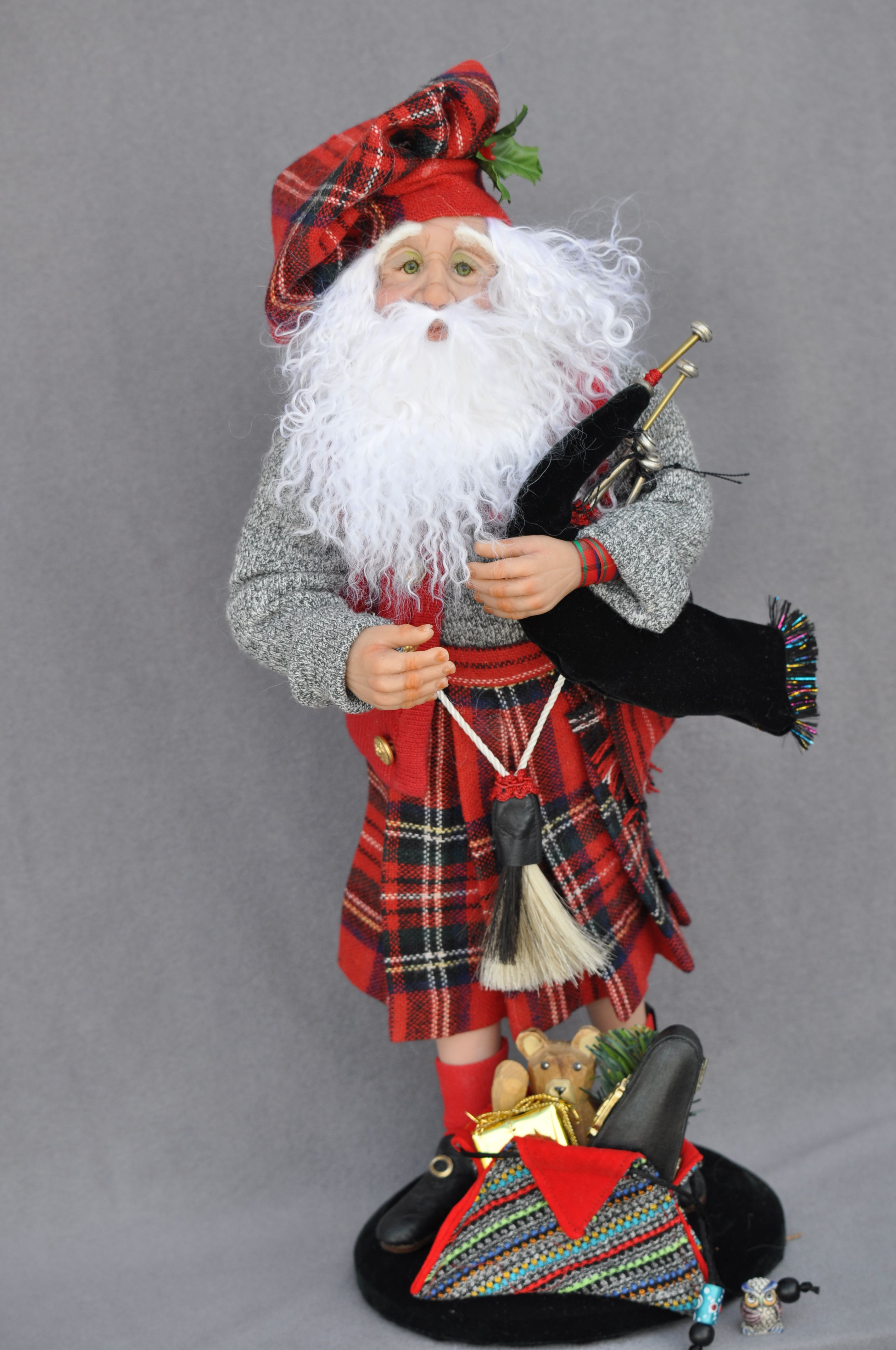 mcnichols and his bagpipes polymer clay 16 tall with scottish