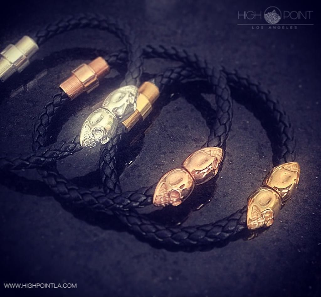 The black Nappa Leather Bracelet in silver rose gold and gold available at  highpointla.com  #highpointla #menswear #inspiration #menstyle #luxury #dailybracelet #mensfashion #mensfashionpost #mensaccessories #menwithstyle #skulls #la #cali #nyc #miami #bracelet #leather #womenswear #inspiration #womenstyle #womensaccessories #accessories  #california #losangeles by highpointla