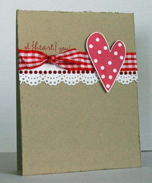 Sweet And Simple Handmade Valentine Kraft Base White Lacy