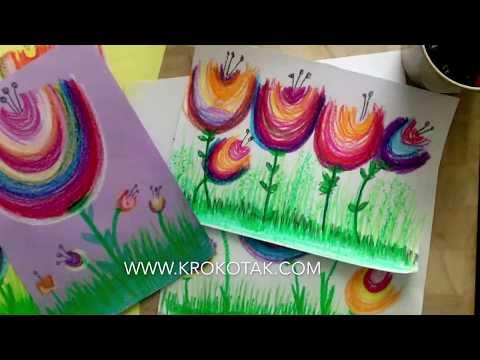Krokotak Easy Flower Oil Pastel Painting Oil Pastel Oil Pastel Paintings Oil Pastel Art