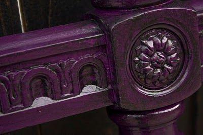 Modernly Shabby Chic Furniture: Deep Purple and Black Glazed King size Headboard