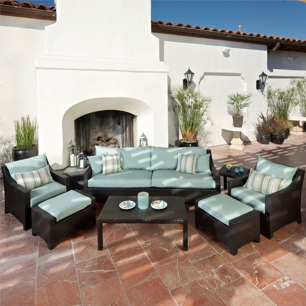 Rst Outdoor Bliss 8 Piece Sofa Club Chair And Ottomans Patio Furniture Set