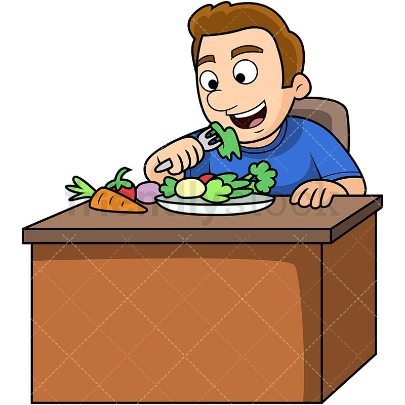 Man Eating Vegetables Cartoon Vector Clipart Friendlystock Eating Vegetables Eat Veggies Healthy Vegetables