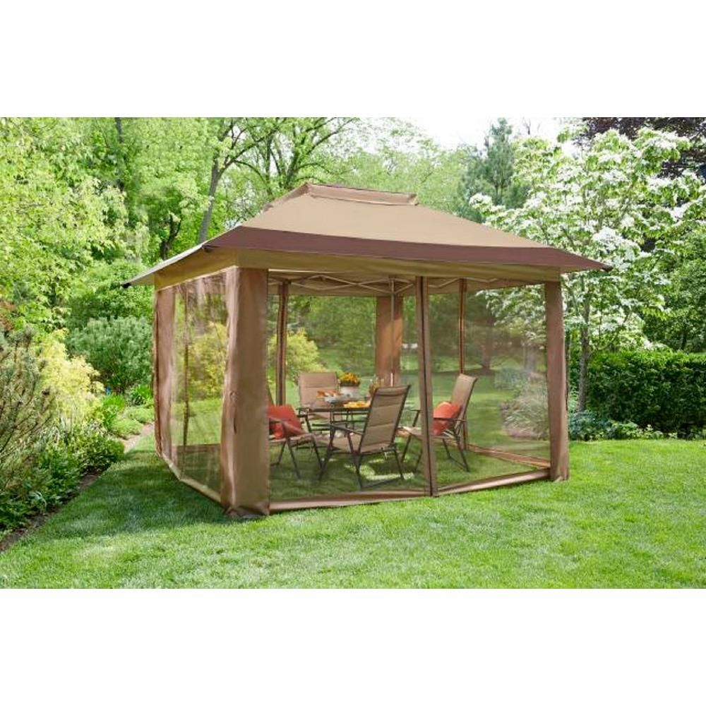 Hampton Bay Stockton 12 Ft X 12 Ft Pop Up Gazebo Instant Canopy Ns Pug 144 300d The Home Depot Instant Canopy Hampton Bay Gazebo