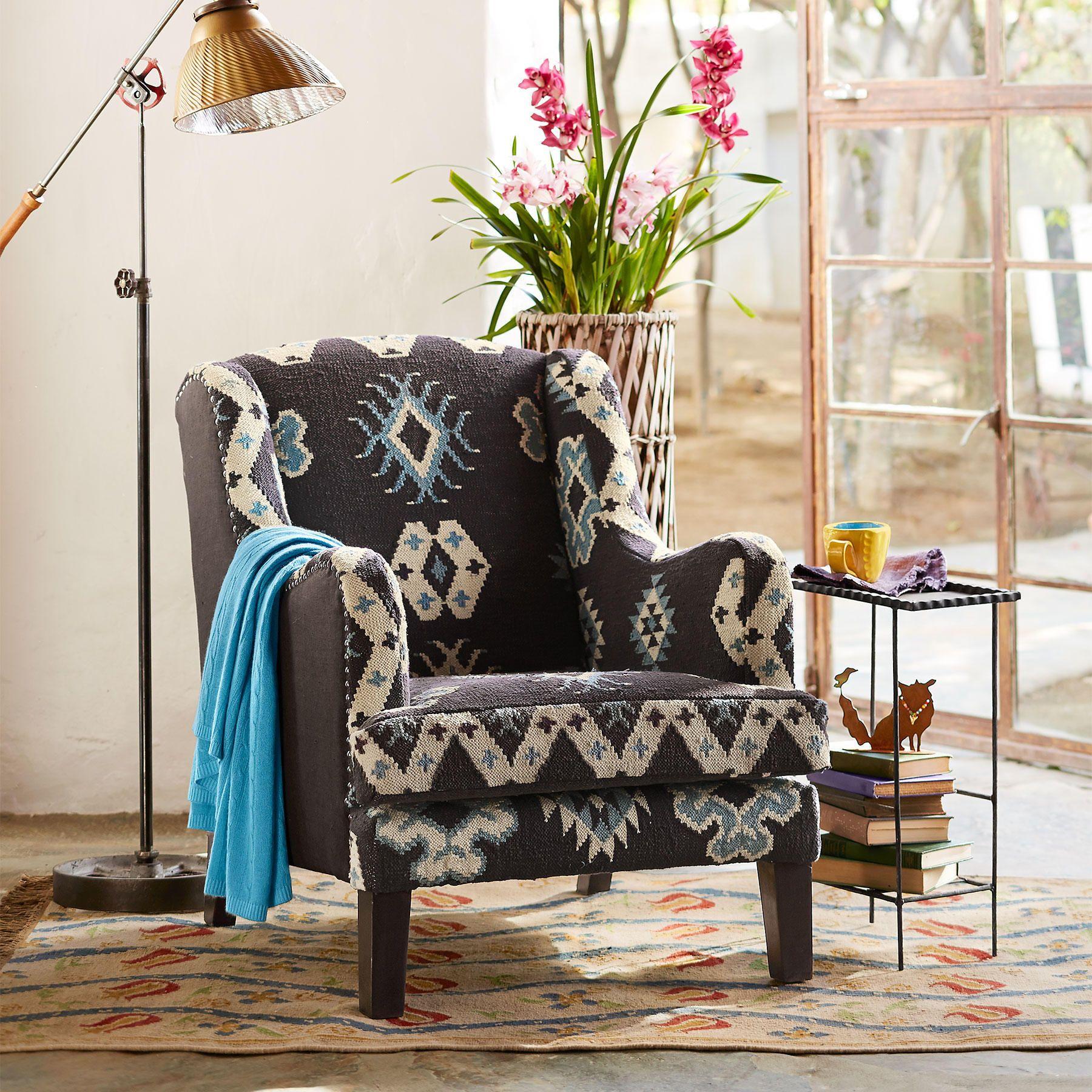 BAJA BLUE KILIM CLUB CHAIR This stunning handmade wing chair is