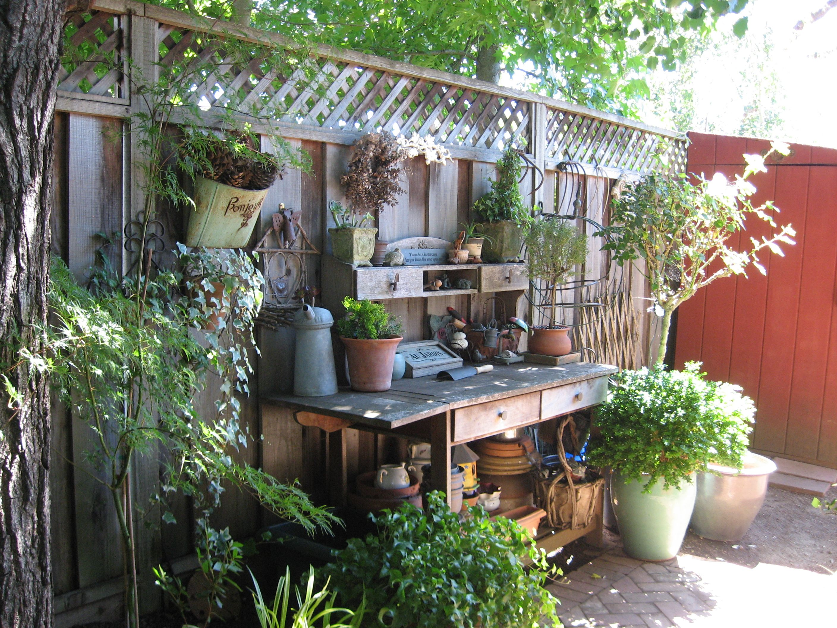the perfect potting bench area | potting places | pinterest