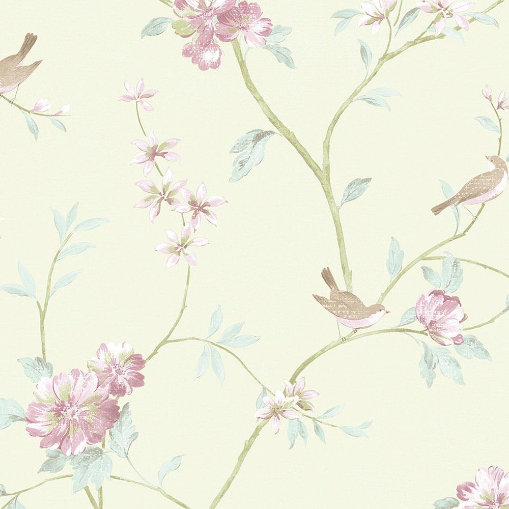 Norwall Floral Bird Sidewall Vinyl Roll Wallpaper Covers 56 Sq Ft Cg28804 The Home Depot In 2021 Bird Wallpaper Grey Floral Wallpaper Floral Branch