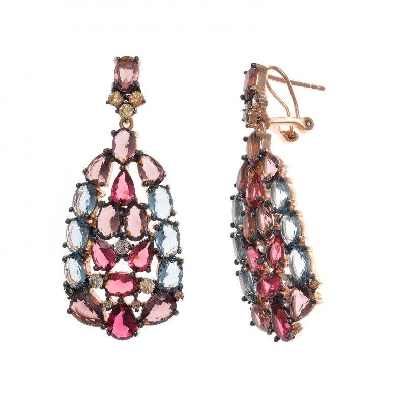 4c811cb3c013 Maravilla de  pendientes originales y grandes hechos en plata rosada con  cristales de color