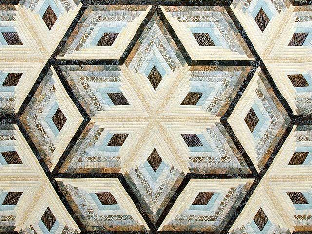 Pastel Blue Brown and Tan Diamond Star Log Cabin Quilt Photo 3 ... : queen size log cabin quilt pattern - Adamdwight.com