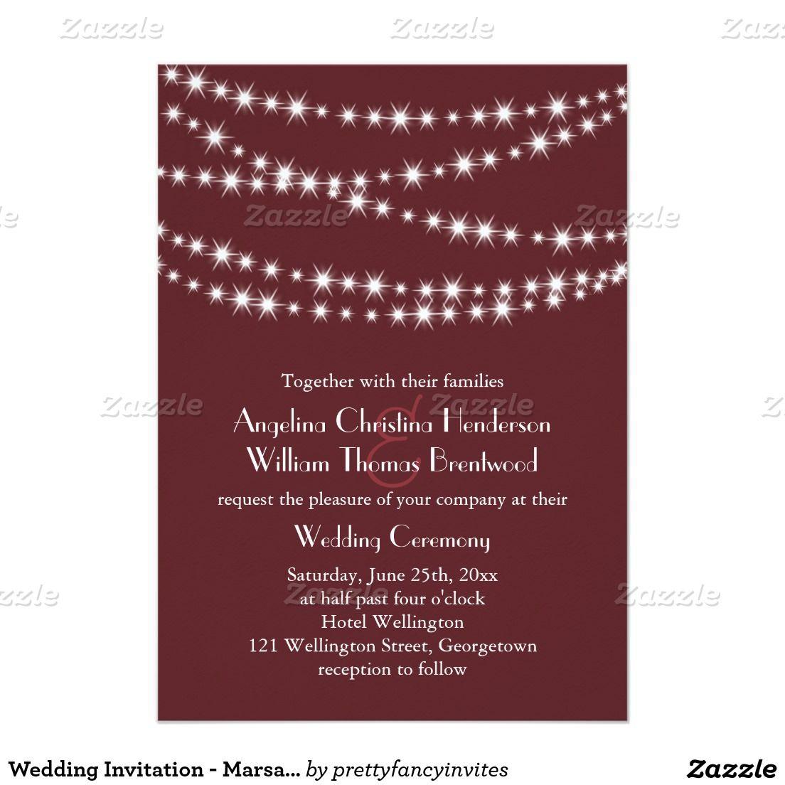 Wedding Invitation - Marsala Twinkle Lights