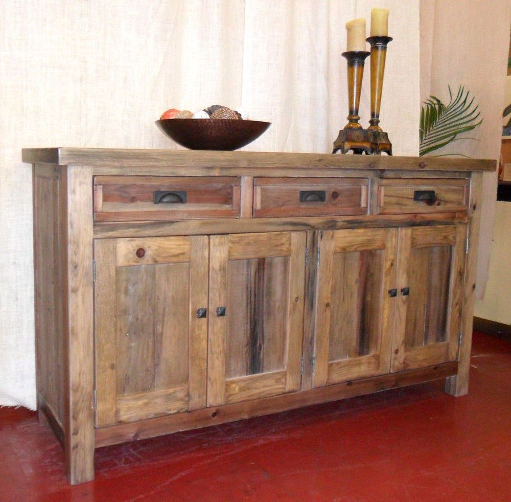 Reclaimed Solid Wood Side Board Buffet Vintage Rustic Console Table Cabinet  #Handmade #RusticPrimitive