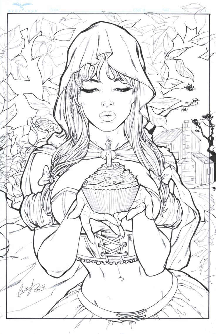 Grimm Little Red Riding Hood Adult Coloring Book Pages Adult