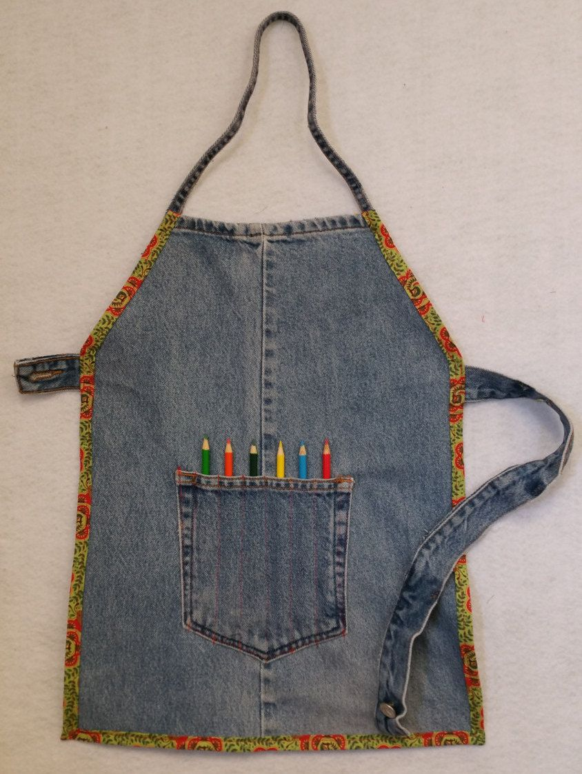 Kids Art Craft Apron Size Lg 7 8 With Color Pencil Pocket Made Of