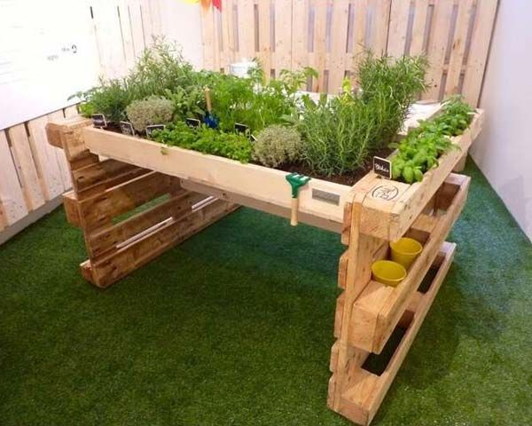 Pallet Potting Table Elevated Garden Top 24 Awesome Ideas To Display Your Indoor Mini Garden Europaletten Garten Hochbeet Aus Paletten Europalette Hochbeet