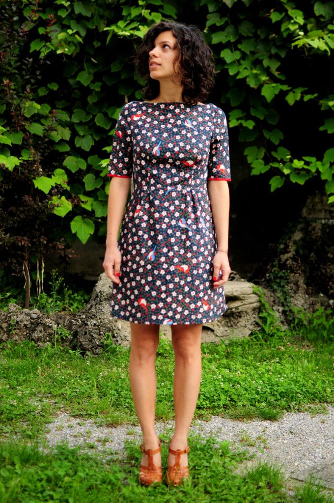 Peony Dress - Colette Pattern. Printed fabric birds and flower ...