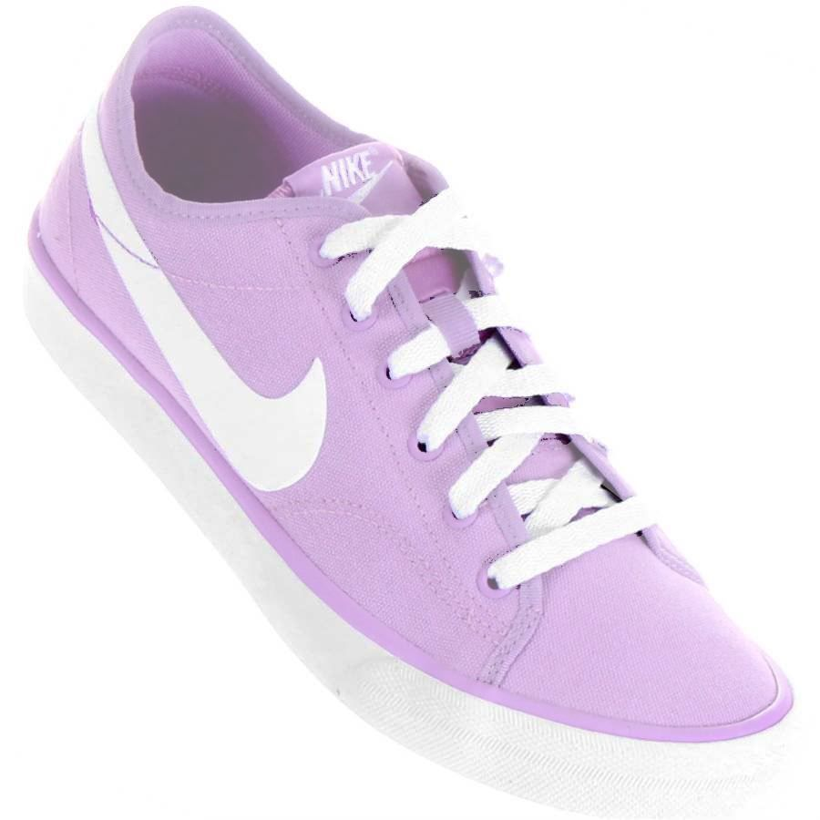 Tênis Nike Primo Court Canvas Casual Feminino Lilás   Branco  ffa70f22188