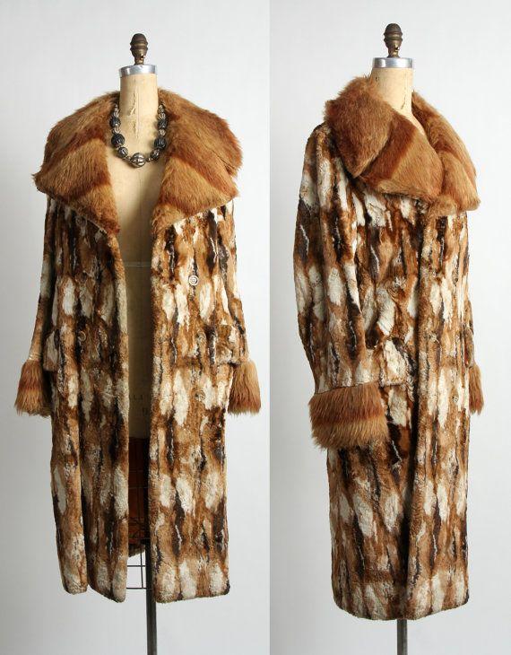 Faux Fur Coat  . 1970s Winter Jacket by VeraVague