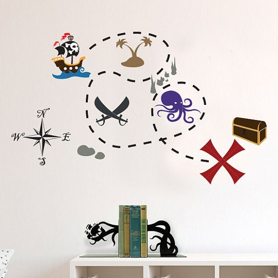 Pirate ship and buried treasure map decal set wall decal custom vinyl art stickers for