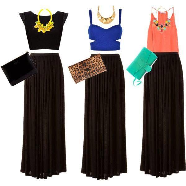 Combinando Una Maxi Falda Negra Maxi Falda Negra Falda Negra