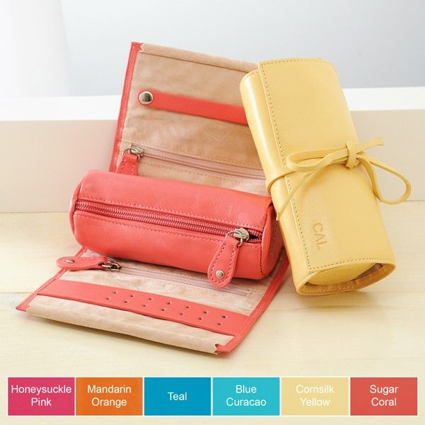 Roll Up Jewelry Travel Case Leather Monogram Personalized Ebay