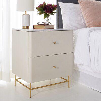 Brayden Studio Stromsburg 2 Drawer Nightstand Wayfair In 2020 Nightstand Decor White And Gold Nightstand Gold Bedroom