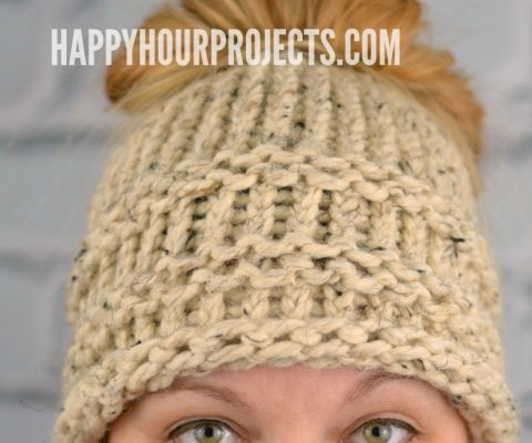8ac783c47cf Beginners Messy Bun Hat Using the Loom Knitter at happyhourprojects.com