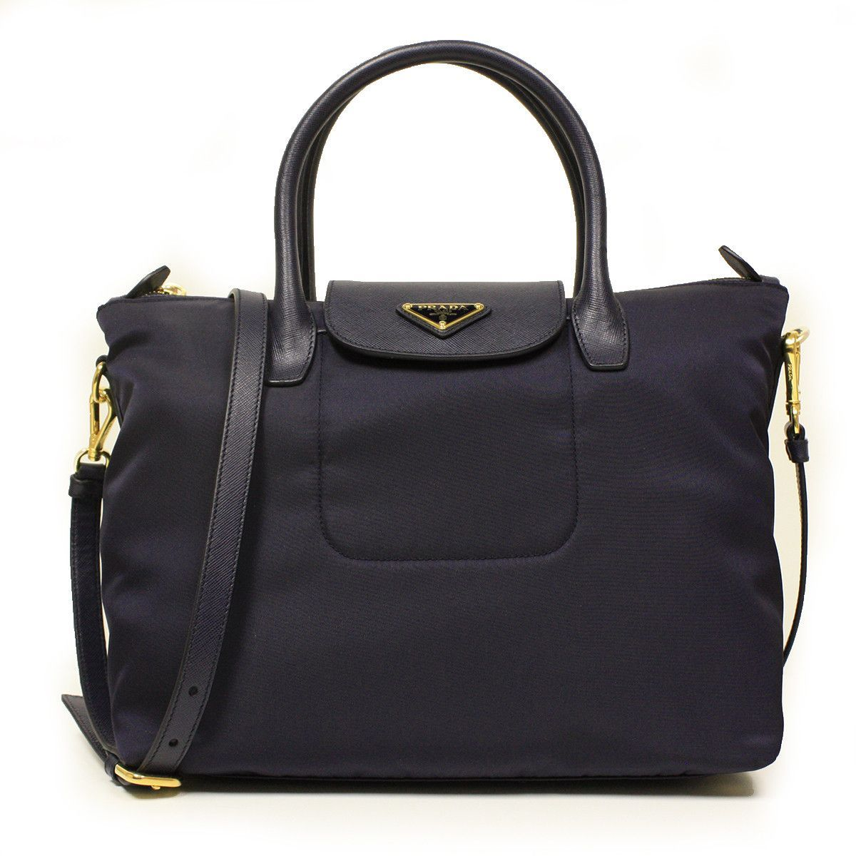 e3d405078284 Prada Bleu Tessuto Saffian Navy Blue Nylon and Leather Shopping Tote ...