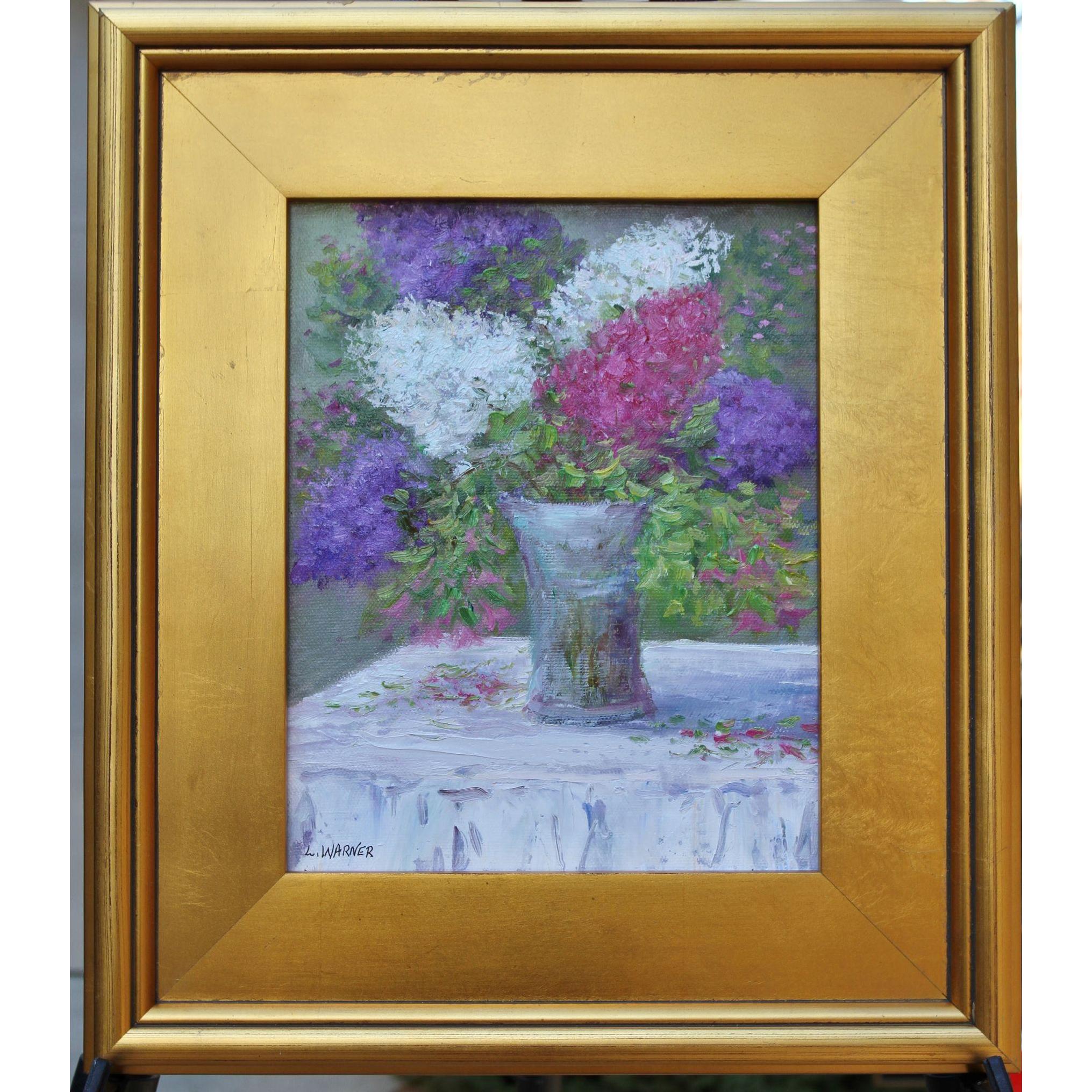 Lilac Bouquet 8 X 10 Framed Oil Painting Artist L Warner Pastel Floral Still Life Rubylanecom Finear Framed Oil Painting Artist Painting Painting