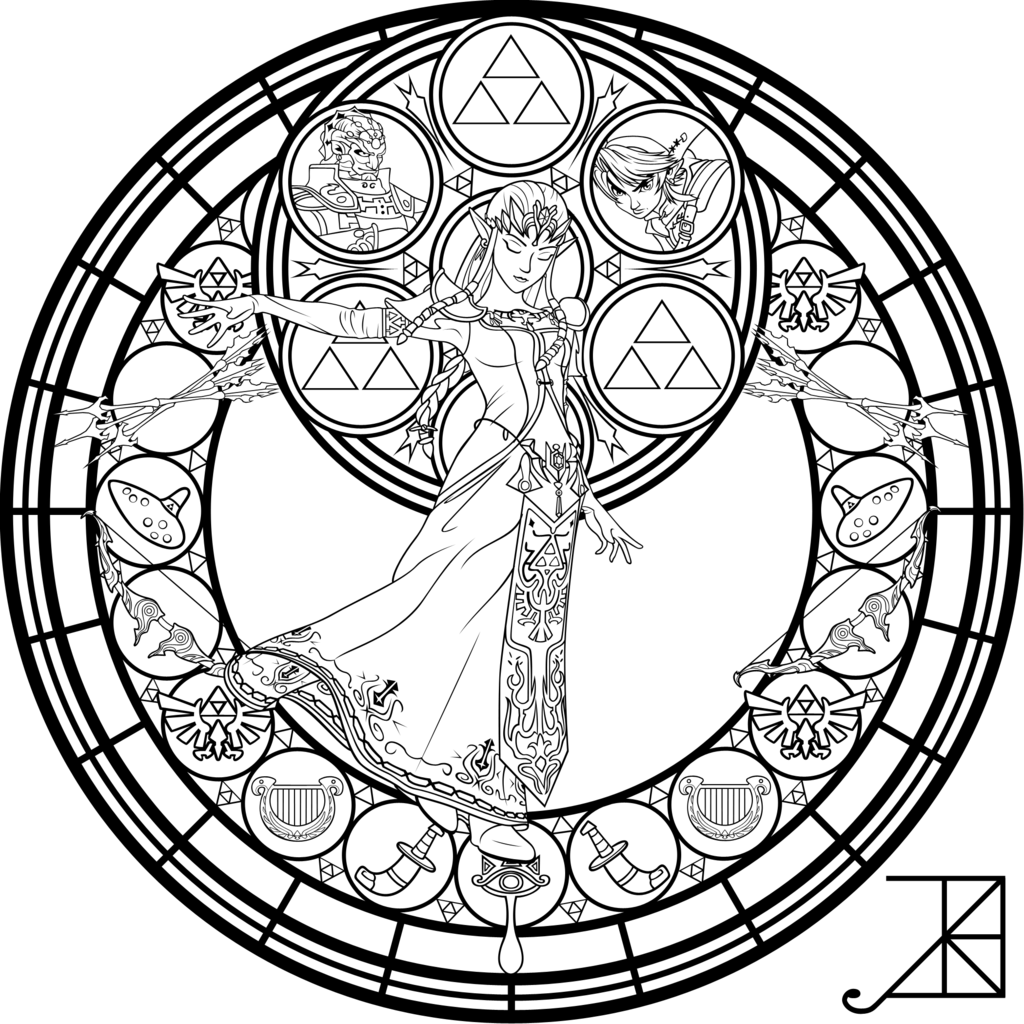 Coloring pages for zelda - Stained Glass Zelda Coloring Page By Akili Amethyst Deviantart Com