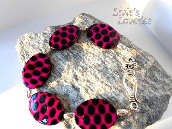 JIZZELLE The bracelet  Fuscia and black polka by LiviesLovelies, $7.99