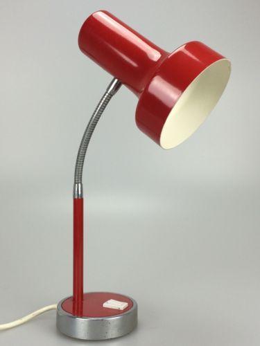 70er-Jahre-Lampe-Leuchte-Tischlampe-Schreibtischlampe-Rot-Chrome-Space-Age