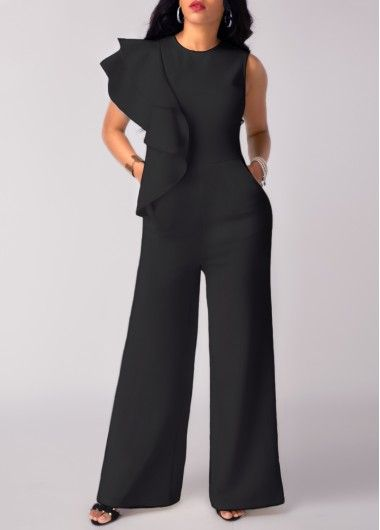 9d8512df790 Flouncing Black High Waist Wide Leg Jumpsuit on sale only US 30.39 ...