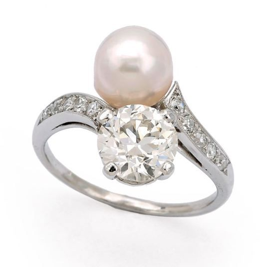 a natural pearl and diamond ring cartier - Pearl Wedding Ring