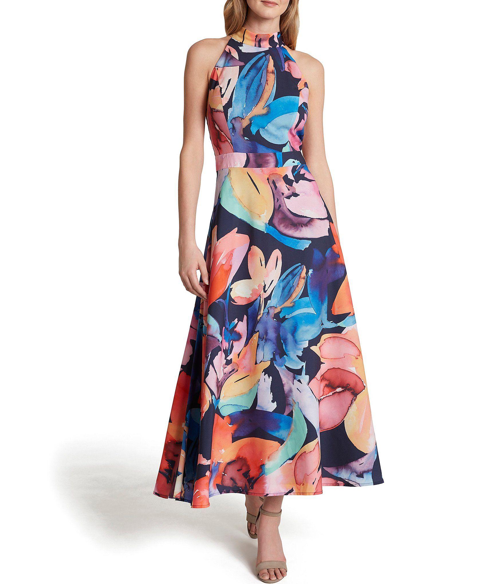 Tahari Asl Abstract Floral Printed Mock Neck Sleeveless Crepe De Chine Maxi Dress Dillard S Dresses Halter Maxi Dresses Spring Wedding Guest Dress [ 2040 x 1760 Pixel ]
