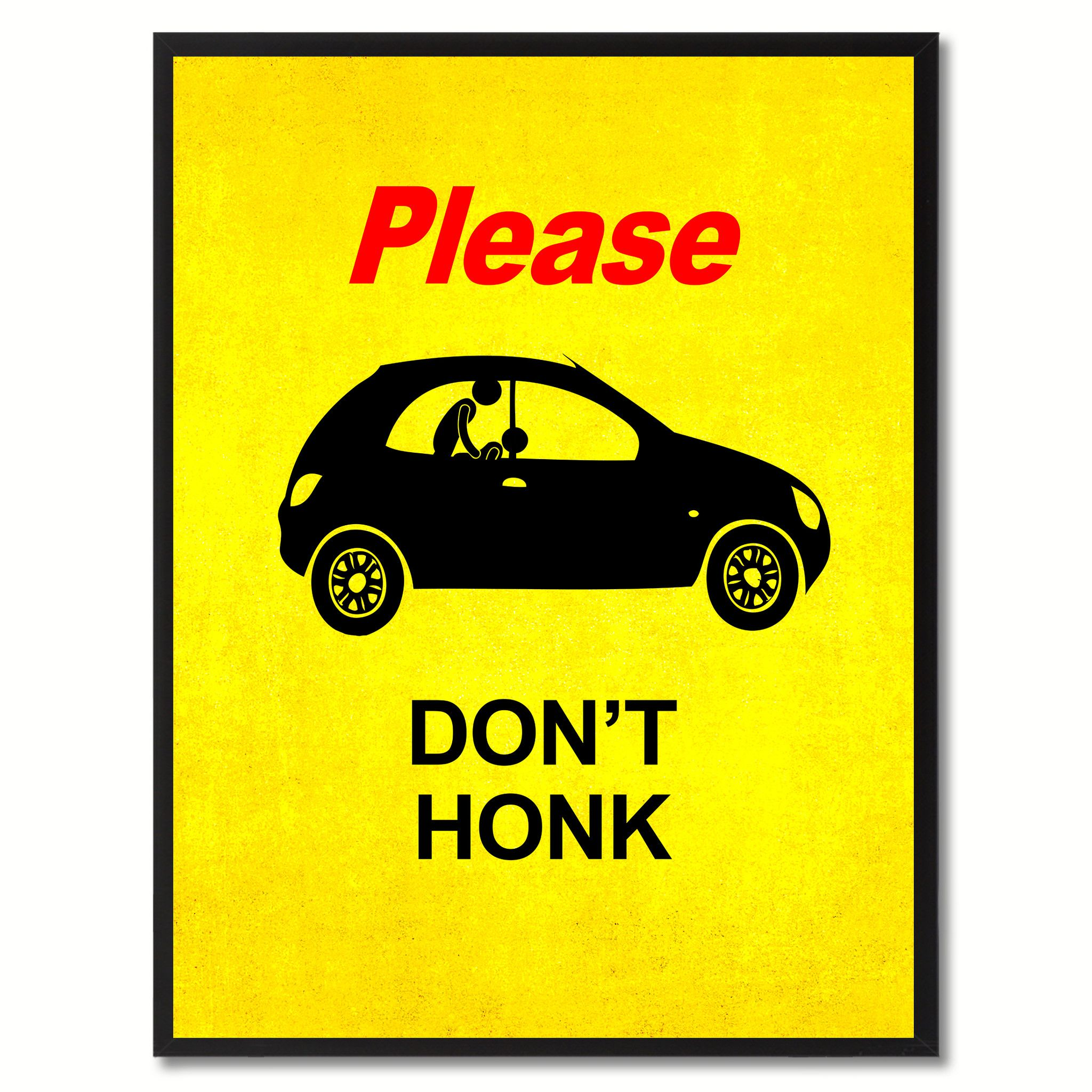 Please Don\'t Honk Funny Adult Sign Yellow Print on Canvas Picture ...