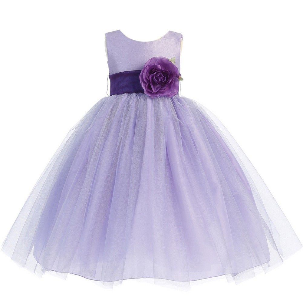 Lito Big Girls Lilac Purple Sash Poly Silk Tulle Flower Girl Dress 7 ...